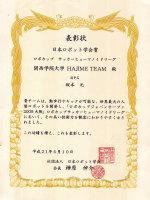 日本ロボット学会賞の表彰状 (2009)