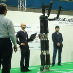 Greeting of large size humanoid robot HAJIME 33