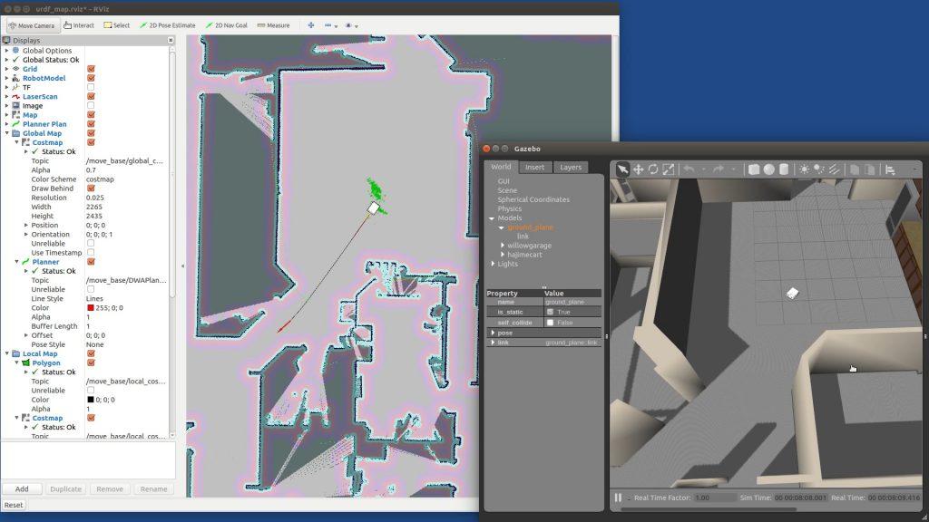 ロボットカートのナビゲーションのシミュレーション