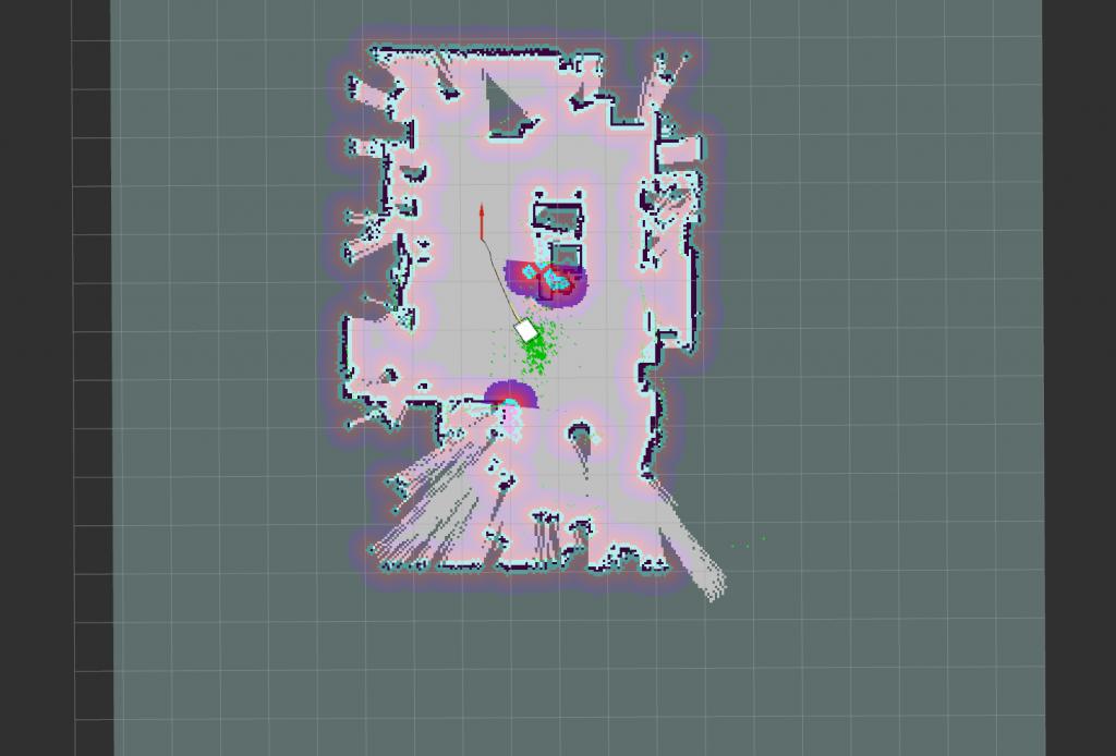 ナビゲーションでロボットカートが移動中(rvizの画面)
